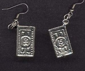 DOLLAR BILL EARRINGS - Cash Money Bank Teller Novelty Jewelry - Silver-tone pewter