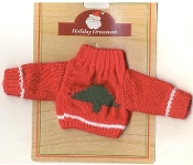 "DOLL - TEDDY BEAR SWEATER with Christmas Tree - Xmas Gift - RED Knit Mini Top Fits American Girl Doll or 10-12"" Teddy Bear."