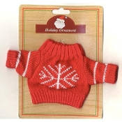 "DOLL TEDDY BEAR SWEATER with Snowflake - Christmas Gift RED Knit - Knitted Mini Top Fits American Girl Doll or 10-12"" Teddy Bear"
