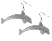 Huge DOLPHIN EARRINGS - Scuba Dive Diver Toy Charm Jewelry