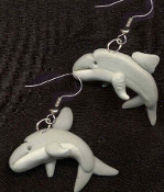 DOLPHIN WHALE EARRINGS - Mini Clay Scuba Diver Ocean Animal Charm Jewelry