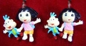 Mini DORA the EXPLORER BACKPACK & BOOTS EARRINGS - TV Cartoon - Miniature