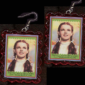 HUGE Wizard of Oz - DOROTHY EARRINGS - Funky Dorothy Gale Kansas Over-the-Rainbow Novelty Jewelry - BIG clear hot pink glitter plastic frame toy Judy Garland photo charms. Follow the Yellow Brick Road. There's No Place Like Home!
