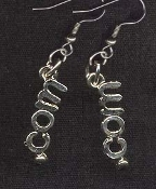 . DOT COM WWW. SYMBOL EARRINGS - Internet Computer Novelty Jewelry - Pewter charm