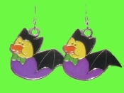 Cute DUCKY BLACK BAT EARRINGS - Halloween Trick-or-Treat Vampire Costume Party Jewelry
