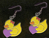 DUCKY HEART EARRINGS - Cute Valentine's Day Costume Party Charm Jewelry -PURPLE