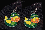DUCKY LEPRECHAUN with DERBY EARRINGS - Cute St Patricks Day Costume Party Shamrock Charm Jewelry -DK
