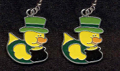 DUCKY LEPRECHAUN POT-O-GOLD TOP HAT EARRINGS - Cute St Patricks Day Costume Party Shamrock Charm Jewelry