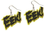 "Big ""EEK!"" EARRINGS - Yellow and Black Halloween Party Jewelry"
