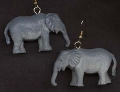 "Huge Miniature Toy ELEPHANT EARRINGS - Tarzan Jungle Book Safari Zoo Circus Animal Novelty Charm Costume Jewelry - BIG plastic realistic dimensional detailed mini figure, approx. 1-1/4"" tall x 2"" long."