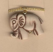 ELEPHANT PENDANT NECKLACE-Trunk Up Clay-look Lucky Charm Jewelry