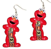 Funky ELMO RED MONSTER BABY BLOCKS EARRINGS - Sesame Street TV Costume Jewelry