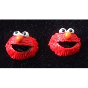 Mini Funky ELMO EARRINGS - Sesame Street 3-D TV RED MONSTER BUTTON Jewelry - Resin Dimensional Stud Charms, each approx. 5/8-inch diameter.