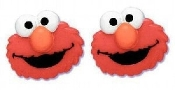 ELMO Huge RED MONSTER Plastic BUTTON EARRINGS - Sesame Street 3-D TV Jewelry