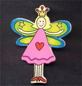 FAIRY PRINCESS WOOD PIN BROOCH - Colorful Fairytale Girl Charm Jewelry