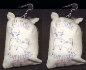 FERTILIZER SACK BAG EARRINGS - Gardener Farmer - BU-- SH-- Novelty Jewelry - Mini Home & Garden Store Charm
