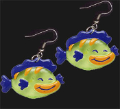 HAPPY FISH EARRINGS - Big Swimming Scuba Fishing Charm Jewelry