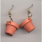 Mini Wood FLOWER POTS EARRINGS - Terra Cotta Garden Planter Miniature Gardener Jewelry