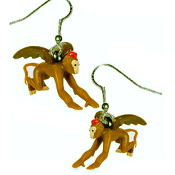 Funky Kitsch Miniature FLYING MONKEYS EARRINGS - Wizard-of-Oz Wicked Witch Jewelry