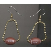 FOOTBALL CHAIN EARRINGS - Team Player Coach Gift Jewelry - BEAD Charm