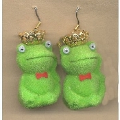 Miniature FUZZY FROG CROWN PRINCE EARRINGS - Princess Jewelry - If you want to meet your handsome PRINCE... You have to kiss a lot of TOADS!!!