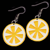 Huge Summer LEMON FRUIT SLICE EARRINGS - Luau Party Drink Lemonade Jewelry