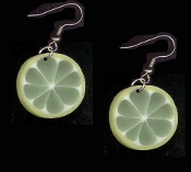 FRUIT SLICE LIME EARRINGS - Summer Luau Party Margarita Drink Juice Jewelry