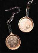 Small COPPER FRYING PAN EARRINGS - Restaurant Cooking Chef Costume Jewelry