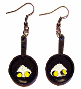 Vintage Mini Black FRYING PAN SKILLET EARRINGS with Sunnyside-Up Fried Eggs - Cooking Chef Miniature Kitchen Restaurant Charm Jewelry