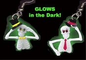 Big Dancing GLOW SKELETON with HAT EARRINGS - 2-different per pair