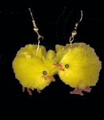 FUZZY YELLOW CHENILLE CHICKS EARRINGS - Nostalgic, Genuine Fuzzy Chenille Toy Charms
