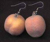 PEACH EARRINGS - Large Fuzzy Funky Fruit Novelty Jewelry - Real look and feel!