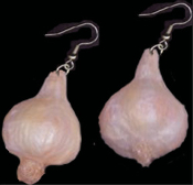 Big GARLIC BULB CLOVE EARRINGS - Halloween Dracula Vampire Goth Chef Cooking Charm Jewelry