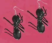 GIANT ANT EARRINGS - HUGE Funky punk insect picnic bug entymology costume jewelry
