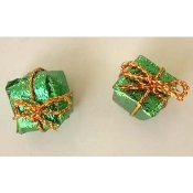 Funky Dimensional Miniature GIFT PACKAGE BUTTON POST EARRINGS-Christmas, Holiday, Birthday, Valentine's Day or Anniversary Present Novelty Theme Charm Costume Jewelry-Mini GREEN metallic foil gift wrapped cube shape with tiny gold bow.