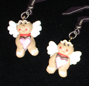 Funky GINGERBREAD MAN ANGEL EARRINGS - Christmas Cookie Dessert Jewelry