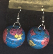 Funky Mini GLOBE EARRINGS - Flight Attendant Pilot Teacher Jewelry