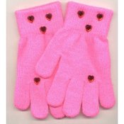 Washable Womens Girls Rhinestone Winter Dress MAGIC-Stretch GLOVES -HOT PINK- Rhinestone shapes and colors may vary.