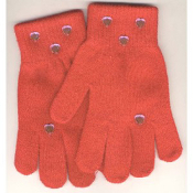 Washable Womens Girls Rhinestone Winter Dress MAGIC-Stretch GLOVES -RED- Rhinestone shapes and colors may vary.