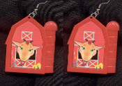 GOAT RED BARN EARRINGS - HUGE Country Farm Animal Farmer Jewelry