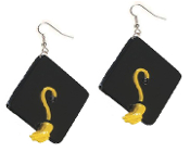 Huge GRADUATION CAP MORTARBOARD EARRINGS - BLACK Graduate Hat Jewelry