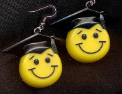 SMILE FACE GRADUATION CAP EARRINGS - HUGE Retro Smiley School Teacher Student Graduate Gift Jewelry -BLACK