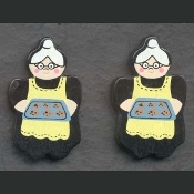 COOKIE BAKING GRANNY BUTTON EARRINGS - Cooking Baker Jewelry