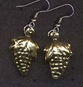 GRAPES EARRINGS - Wine / Winery Bartender Chef Novelty Jewelry - Gold-tone metal charm