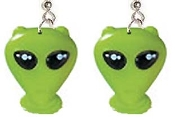 Huge Funky GREEN ALIENS EARRINGS - Area 51 UFO Costume Jewelry