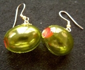 GREEN spanish OLIVES with Pimento Earrings - For Martini Lovers!