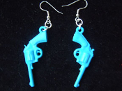 Funky GUNS PISTOLS VINTAGE EARRINGS - Punk Western Jewelry - BLUE