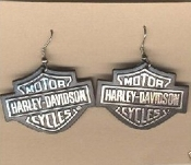 HARLEY-DAVIDSON EARRINGS - Big Funky Biker Motorcycle Punk Charm Jewelry