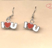 "Valentine's Day Charm EARRINGS - HEART "" I Love U"" Jewelry -K"