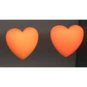 HEART Dimensional Button EARRINGS - Valentine's Day Gift Jewelry -NEON Orange
